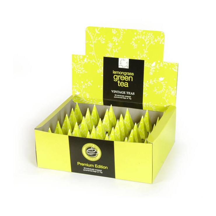 Green Tea Lemongrass 30 individually Wrapped Pyramid Box