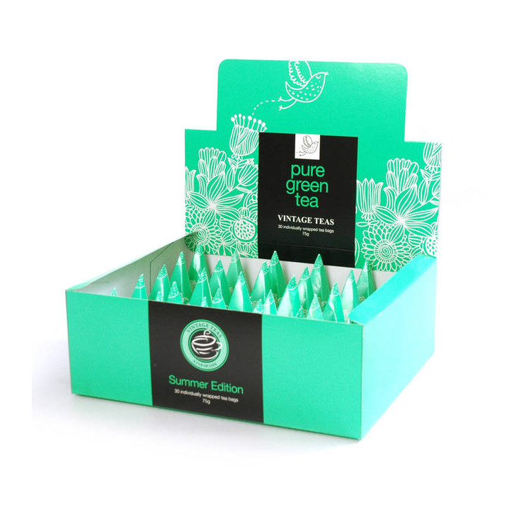 Green Tea 30 Individually Wrapped Pyramid Box Vintage